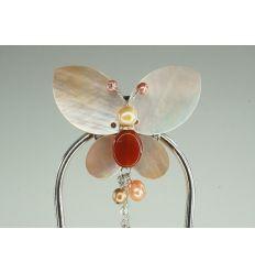 Jade rouge et papillon de nacre - épingle à cheveux