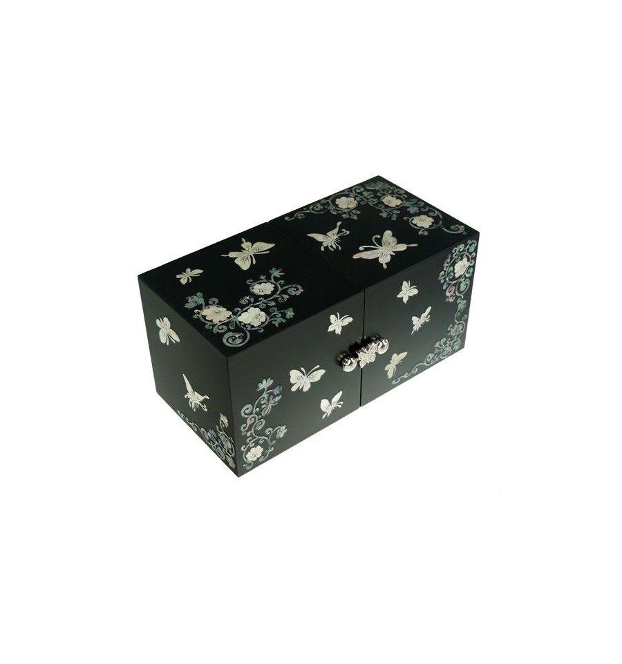 petite boite bijoux noire decorations papillons de nacre. Black Bedroom Furniture Sets. Home Design Ideas
