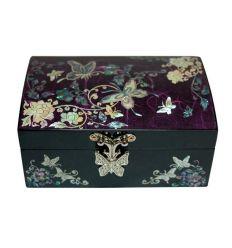 Boite à bijoux décorée avec une image nacrée de papillon