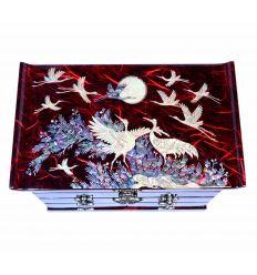 Grande boite à bijoux rouge avec de belles illustrations asiatiques en nacre naturelles