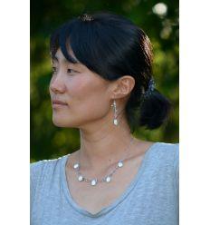 Set collier + boucles d'oreilles coquillages nacrés ovales
