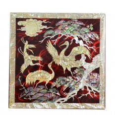 Boite à bijoux fantaisie rouge décorée de fleurs de chrysanthèmes en nacre abalone