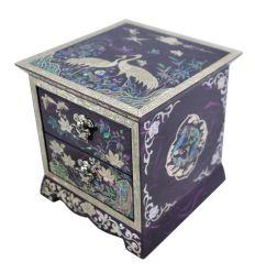 Boite à bijoux violette décorée de nacre abalone avec deux tiroirs