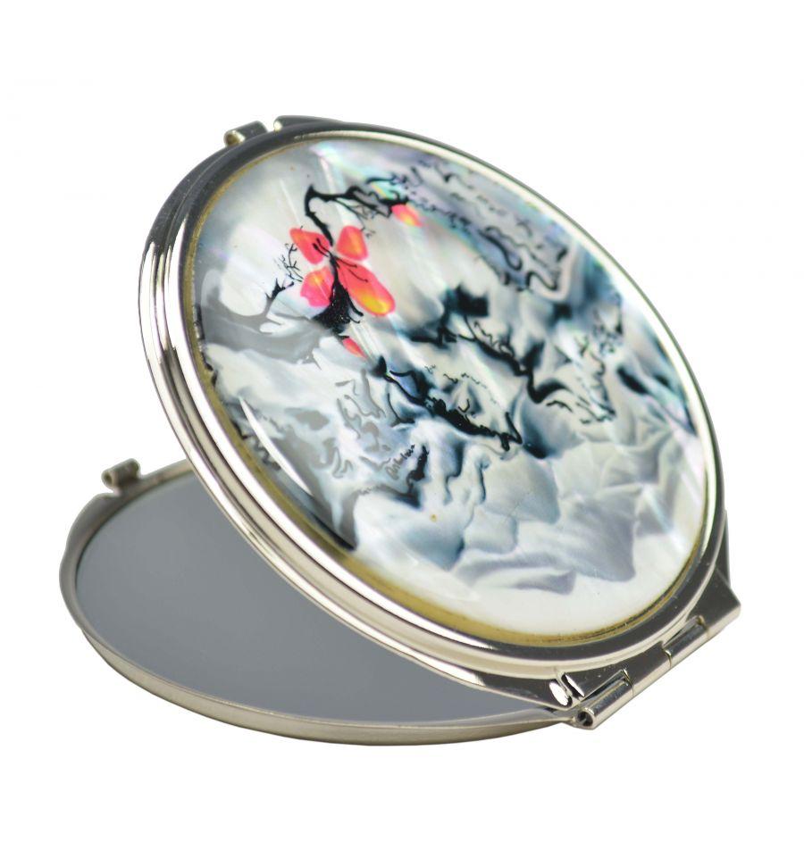 Miroir de poche fantaisie blanc et noir aux d corations de for Miroir fantaisie