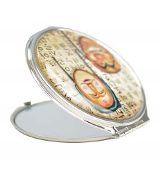 Miroir de poche artisanal avec une illustration en nacre de masque traditionnel Coréen