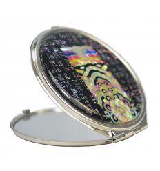 Miroir de poche original avec une fresque de nacre colorée