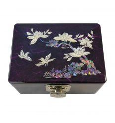 Boite à bijoux violette avec dessins de nacre abalone
