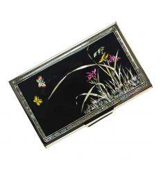 Porte-cartes de visite métal  - Orchidé et papillons (Nanchodo)