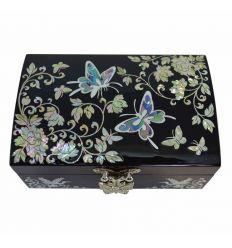 Boite à bijoux noire décorée de papillons