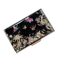 Porte-cartes de visite femme - Pivoine et papillons (Mogdannabi)