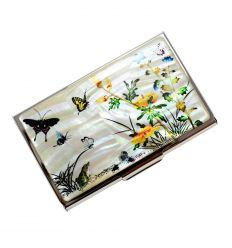 Porte-cartes de visite de nacre - plantes et insectes (Chotchungdo)