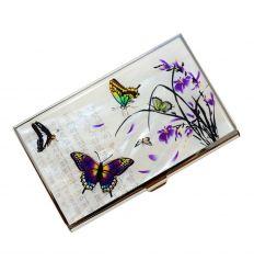 Porte-cartes de visite pour femme avec des papillons et des fleurs de lys