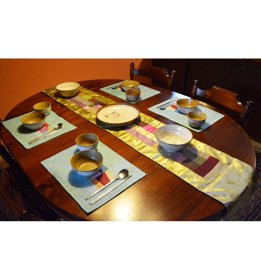 Chemin de table vert tissu ramie asiatique - Chemin de table asiatique ...