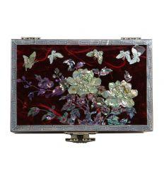 Coffret à bijoux fantaisie rouge - fleurs de pivoines