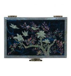 Coffret à bijoux fantaisie bleu - fleurs de magnolia