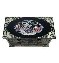 Boite à bijoux Asiatique avec une fresque en nacre abalone