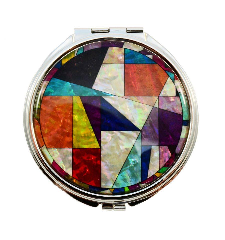Miroir de poche design patchwork artisanat cor en for Miroir de poche