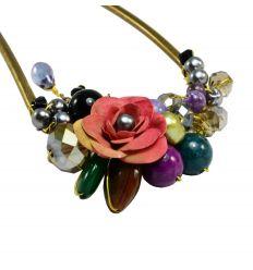 Belle épingle à cheveux design fleur et pierres naturelles