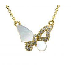 Collier papillon de nacre blanc