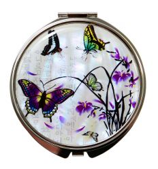 Coffert porte-cartes et miroir de poche design papillons et lys