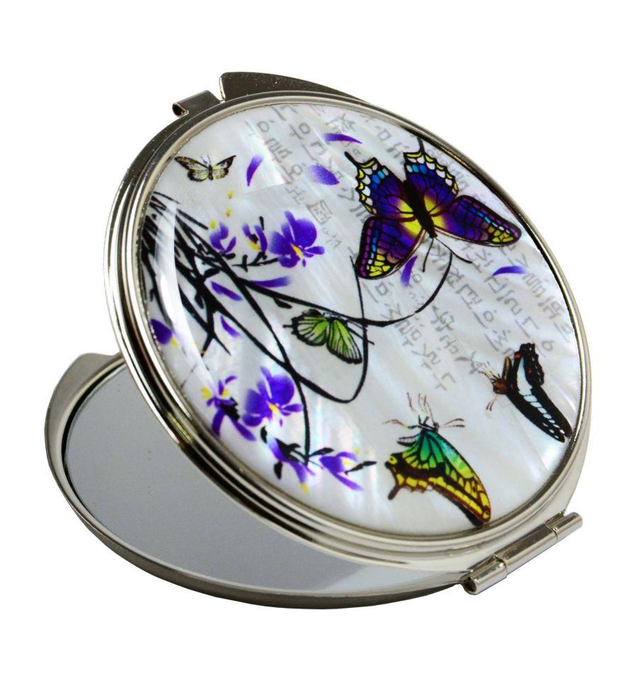 Miroir de poche original design papillons et fleurs de lys for Miroir fantaisie design