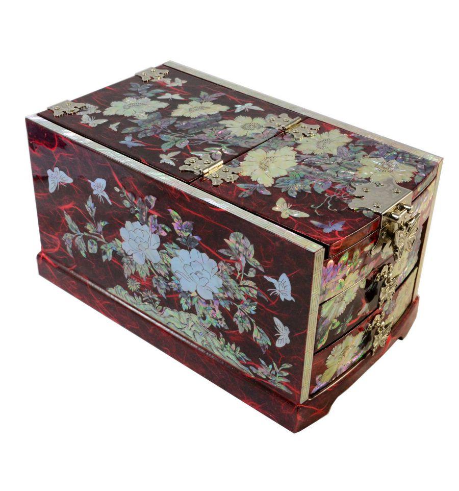 grande boite bijoux rouge avec miroir design. Black Bedroom Furniture Sets. Home Design Ideas