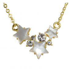 Collier étoiles Nacre blanche couleur or