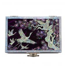 Boite à bijoux violette pour femme décorée de nacre naturelle