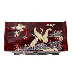 Grande boite à bijoux rouge qui est décorée d'image de style asiatique en nacre naturelle