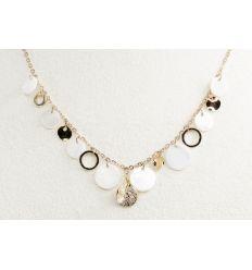 Set collier + boucles d'oreilles ronds de coquillage nacré et rond de couleur or