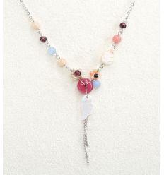Set collier + boucles d'oreilles nacré ailes d'anges