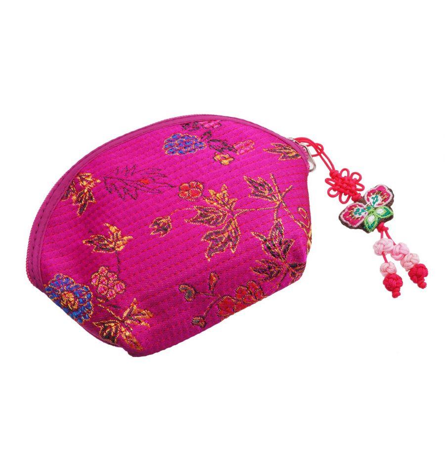Porte monnaie demi lune rose fuchsia artisanat cor en - Porte monnaie en tissu ...