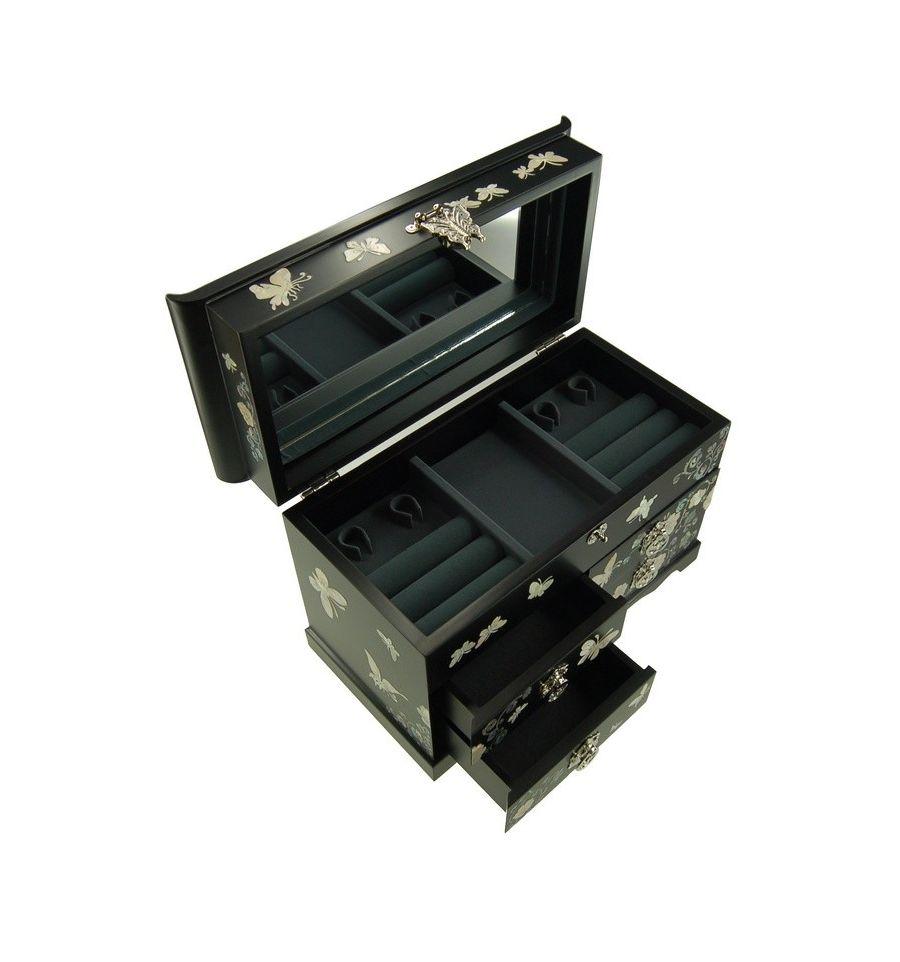 Grande boite à bijoux noir quatre tiroirs, couvercle et miroir design papillons