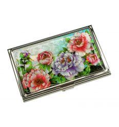 Etui, porte-cartes de visite de nacre désign fleurs de pivoine multicolores