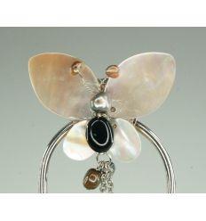 Pierre d'onyx et papillon de nacre - épingle à cheveux