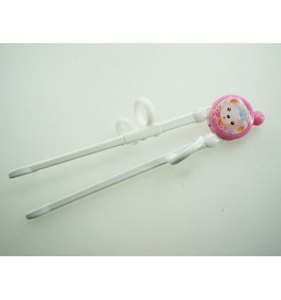 Baguettes d'apprentissage (droitier) pour fille image petit ours couleur rose