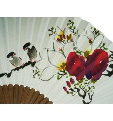 Eventail en papier Coréen - Design couple d'oiseaux