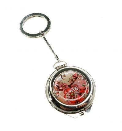 Miroir de poche, porte-clés décoré avec une belle image de couleur rouge de cerisier en fleurs