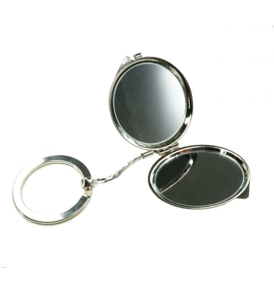 mini miroir de poche grossissant combin un porte clefs. Black Bedroom Furniture Sets. Home Design Ideas