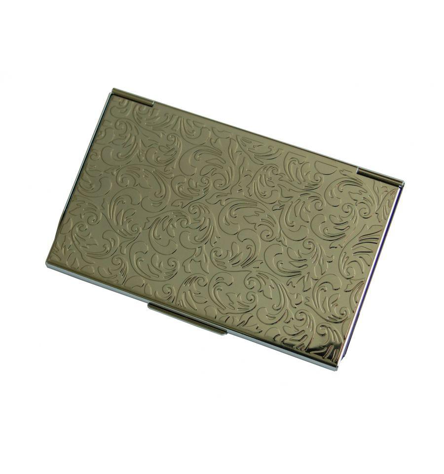 Visite Porte Cartes Avec De Belles Finitions Gravures Metalliques Harmonieuses Sur La Face Arriere