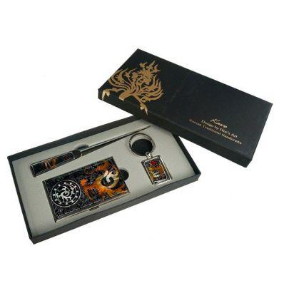 Set cadeau porte cartes de visite, ouvre-lettres et porte-clefs design dragon
