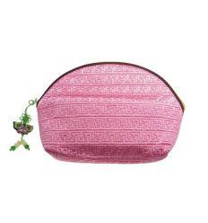 Trousse à maquillage demi lune en tissu rose et broderies de fleurs
