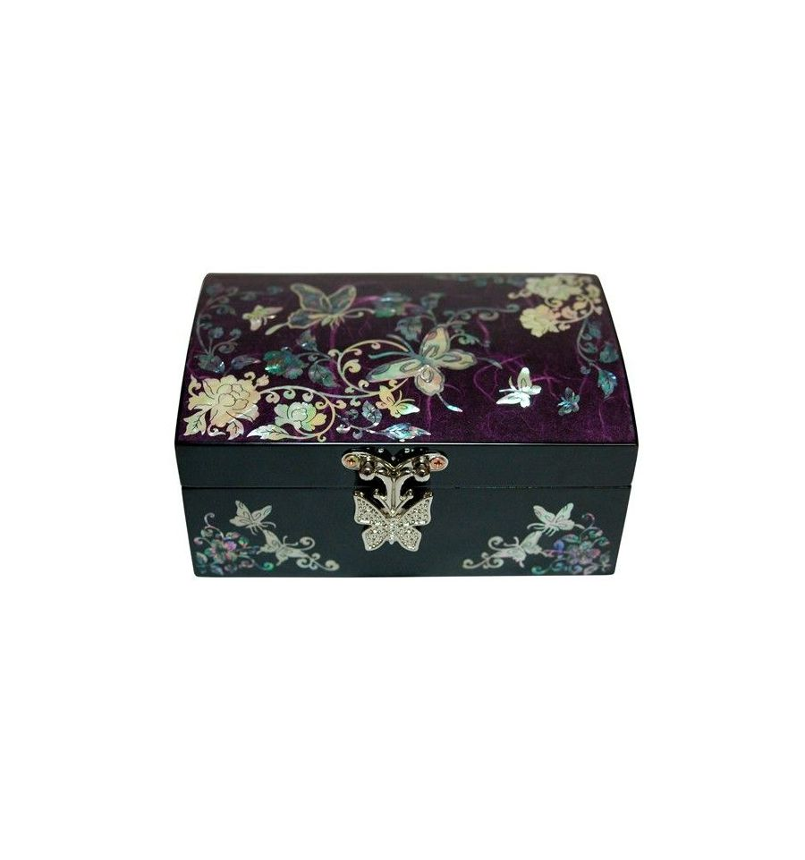 petit coffret bijoux violet aux d corations de nacre. Black Bedroom Furniture Sets. Home Design Ideas