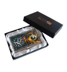Superbe porte-cartes de visite aux couleurs ambrés et reflets de nacre véritable