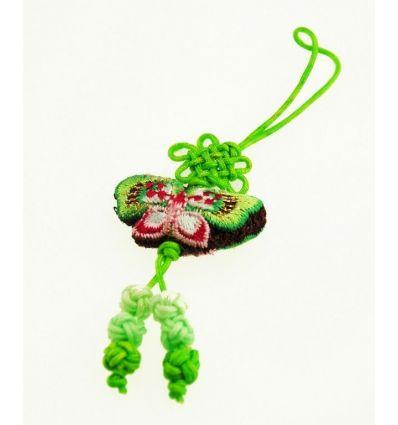 Pendentif téléphone portable - Papillon tissu vert