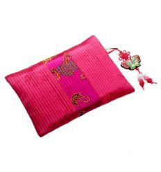 Porte-monnaie rouge vin en tissu Brocart