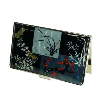 Porte-cartes de visite en métal avec une belle illustration de nacre