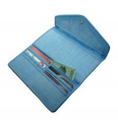 Portefeuille fantaisie bleu ciel en tissu ramie et un patchwork décoratif
