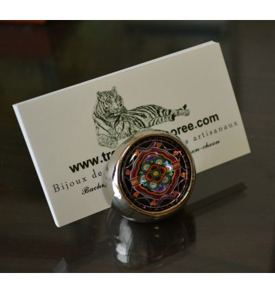 Porte-cartes de visite pour le bureau en forme de boule inox décorée de nacre