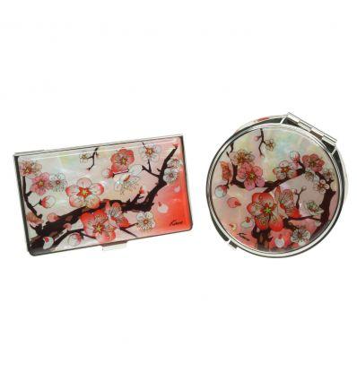 Porte-cartes de visite et miroir de poche assortis, design fleur de cerisier rouge